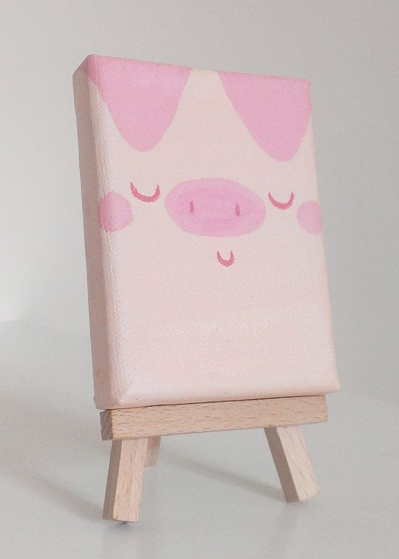 Pinky Pig Original Mini Painting Acrylic On Canvas