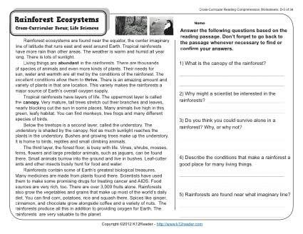 Rainforest Ecosystems | 4th Grade Reading Comprehension ...