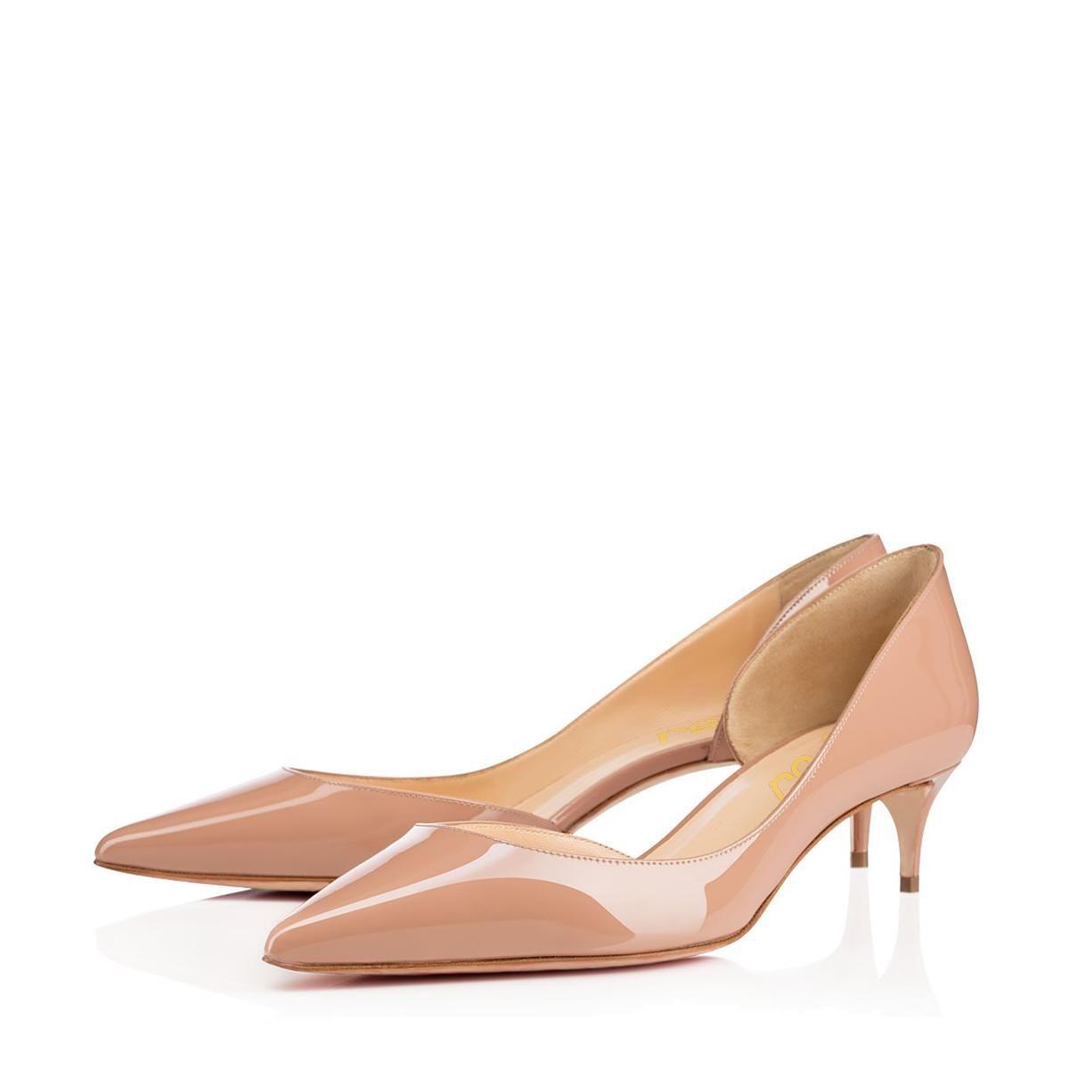 f3c6ffbc292 Shop FSJ Shoes Nude Kitten Heels Dress Shoes Pointy Toe Patent ...