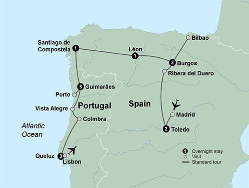 Map Of Northern Portugal And Spain.Northern Spain Portugal Itinerary Travel In 2019 Coach Tours