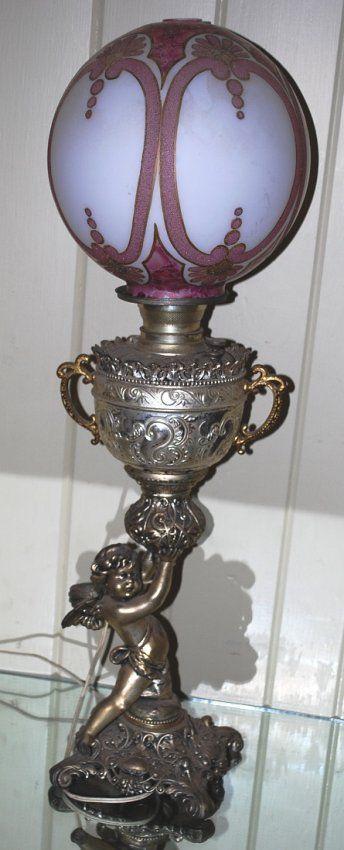 1880's Cherub Lamp : converted kerosene