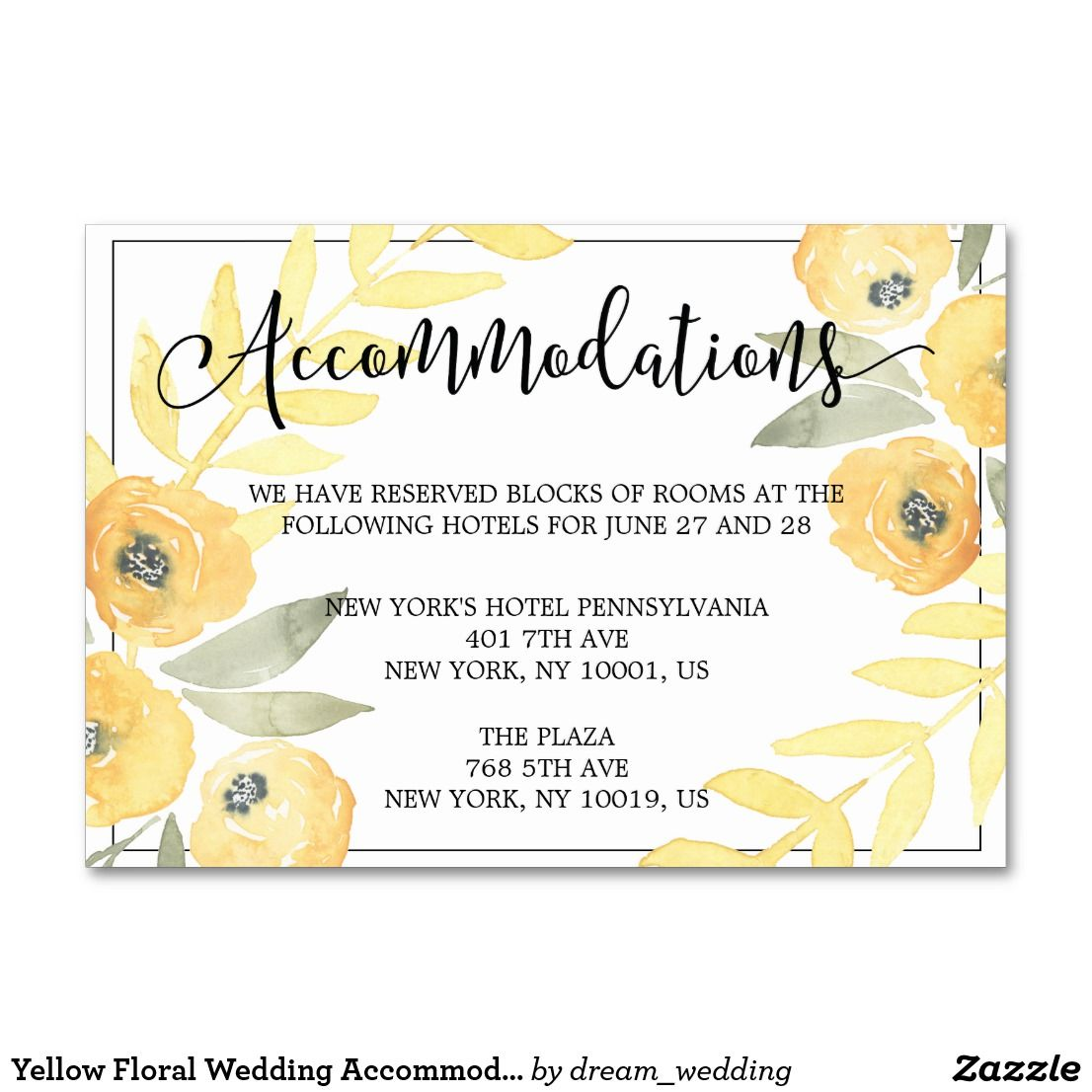Yellow Floral Wedding Accommodation Cards All Zazzle Pinterest