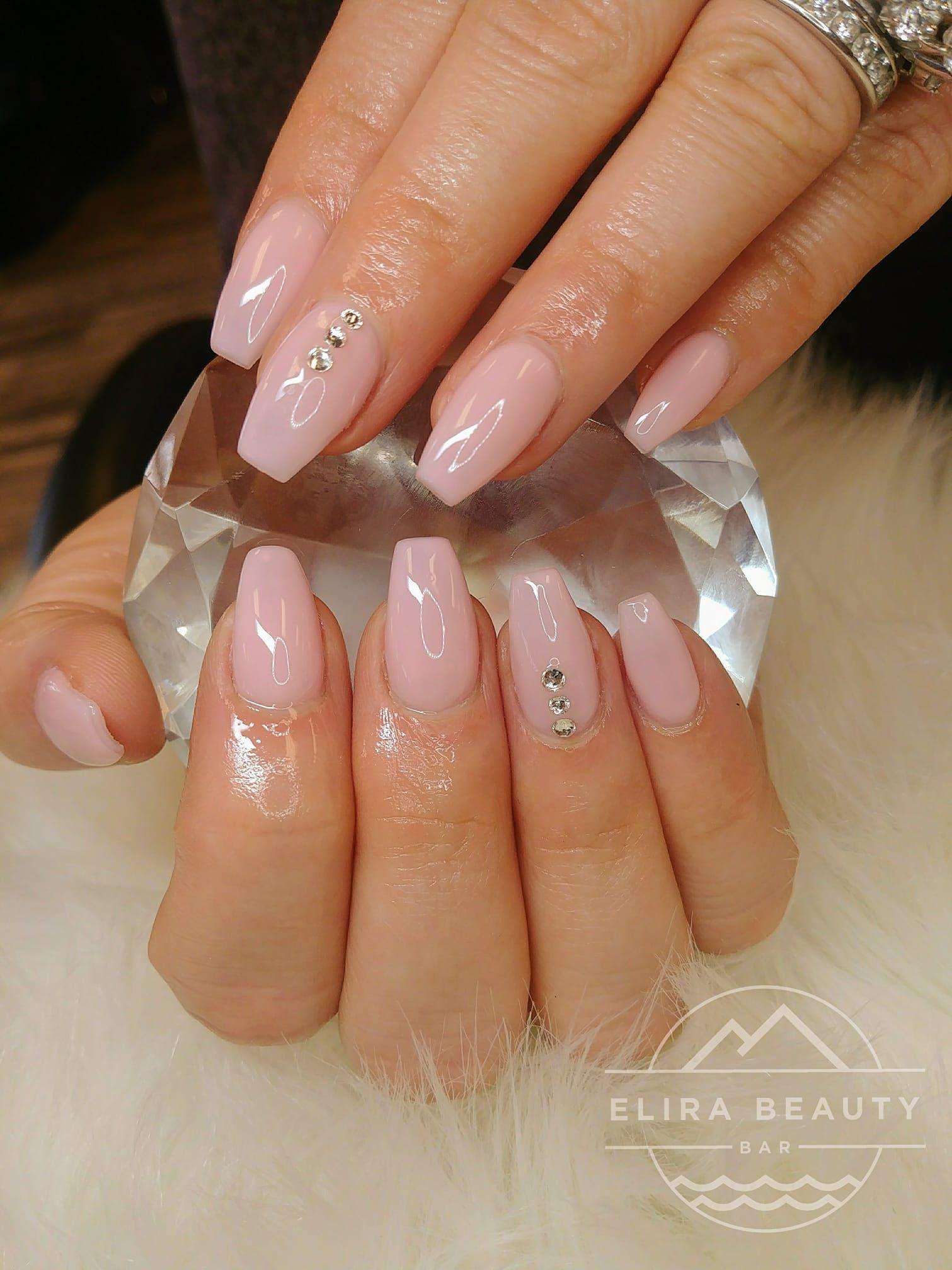 Pink Nails With Stones Nails Pretty Acrylic Nails Cute Acrylic Nail Designs
