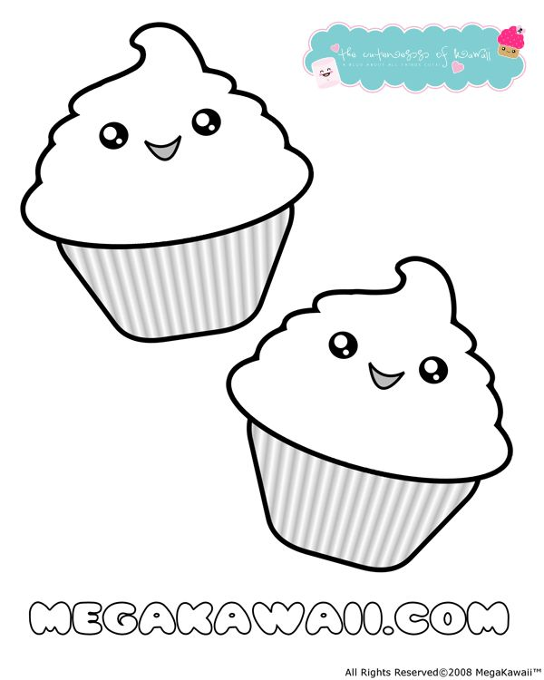 Kawaii Cupcake Coloring Pages Printable vrityskuva Pinterest
