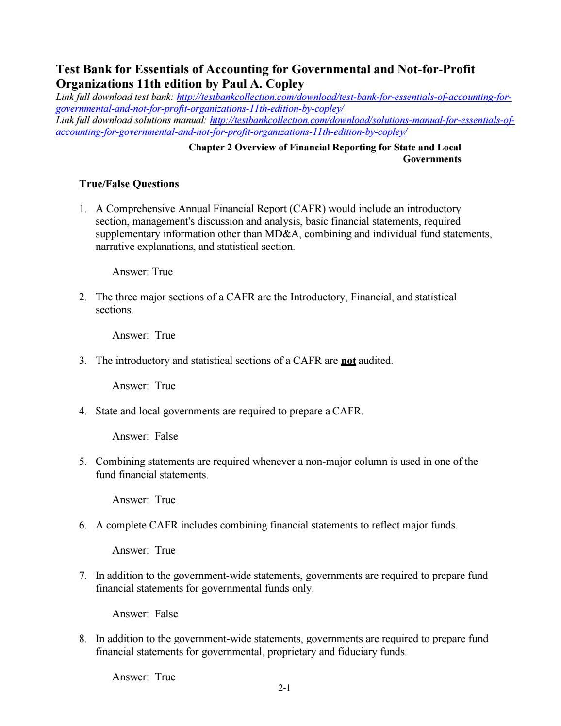Test bank for essentials of accounting for governmental and not for profit  organizations 11th editio