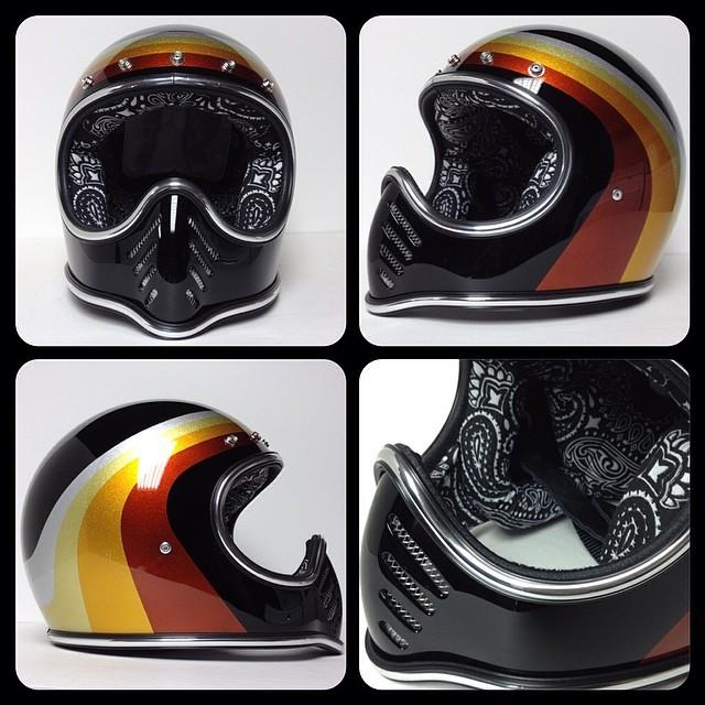 Bellmoto3 Custompaint Metalflake Bobber Chopper Hellmuttliners Vintage Helmet Motorcycle Artwork Bell Moto 3