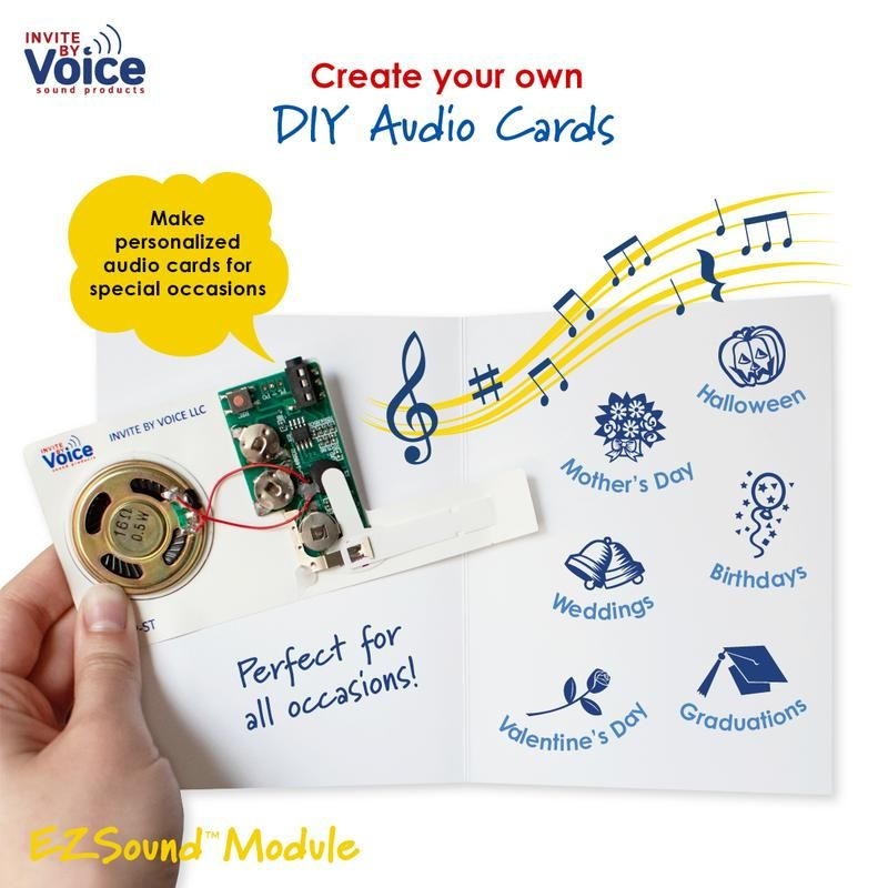 Adding Personalized Voice Messages Music Or Sounds To Any Special Gift Has Never Been Easier With The Ezsound Modu Musical Cards Cards Musical Greeting Cards