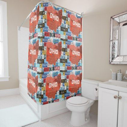 Ohio State Of USA W License Plate Shower Curtain