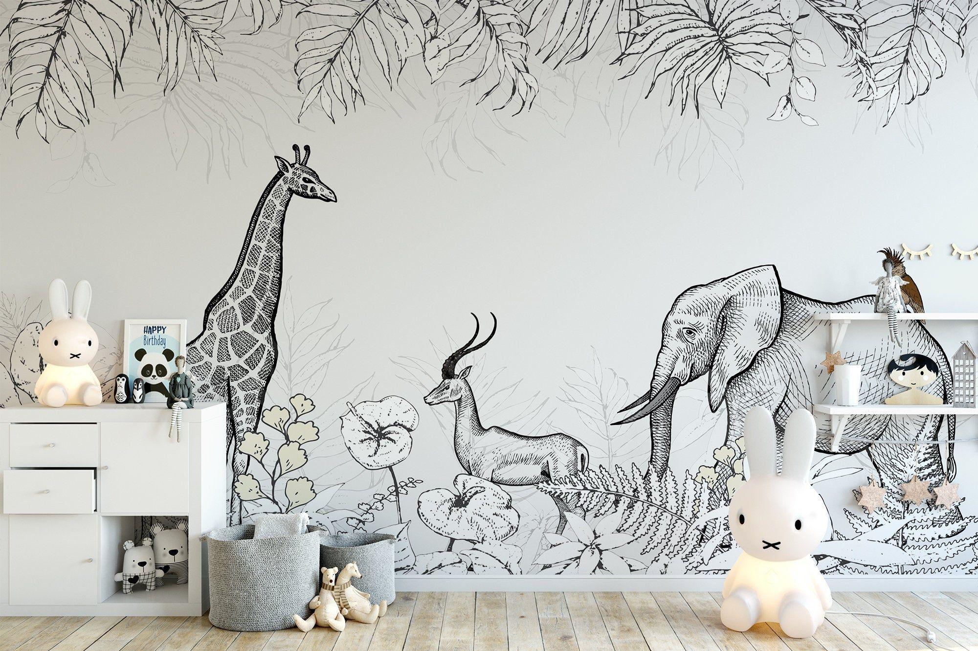White Black Animals Giraffe Elephant Drawing Tropical Jungle Etsy Kids Room Wallpaper Room Wallpaper Jungle Wallpaper