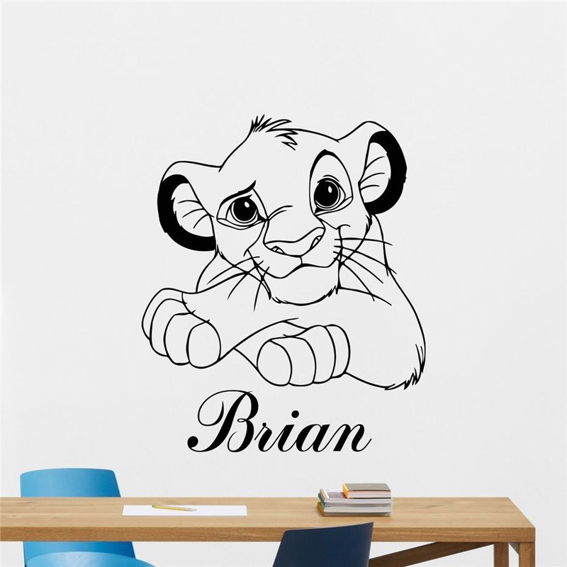 Lion King Wall Sticker Custom Name Cartoons Vinyl Sticker Simba ...