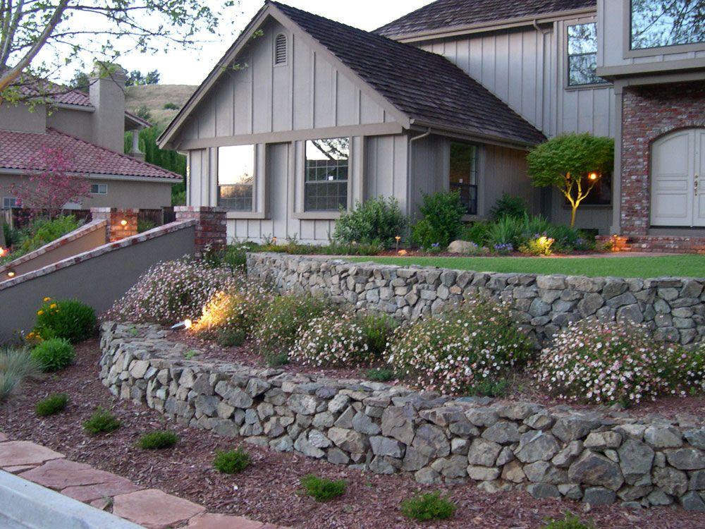 Gray Stone Wall | Traditional landscape, Backyard design ...