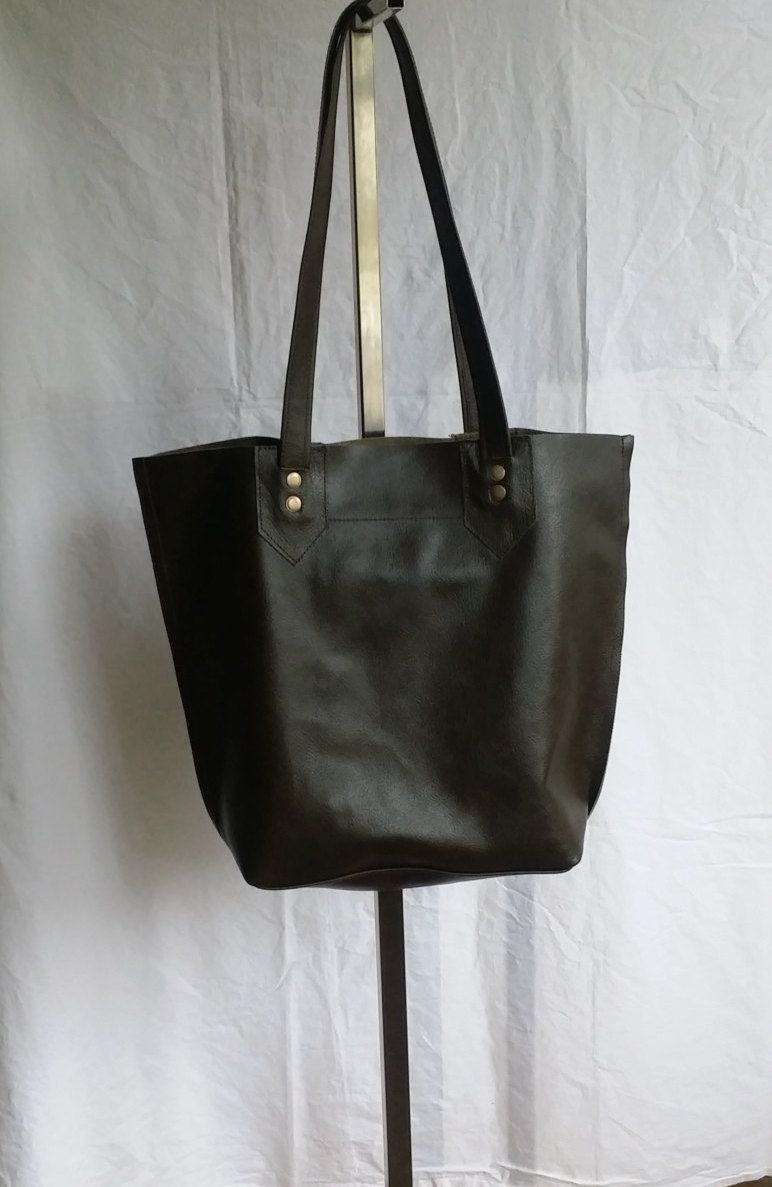 ca60c48c40 Top Grain Olive Leather Large Tote Handmade in USA by jewelrypieces on Etsy  Trendy Handbags