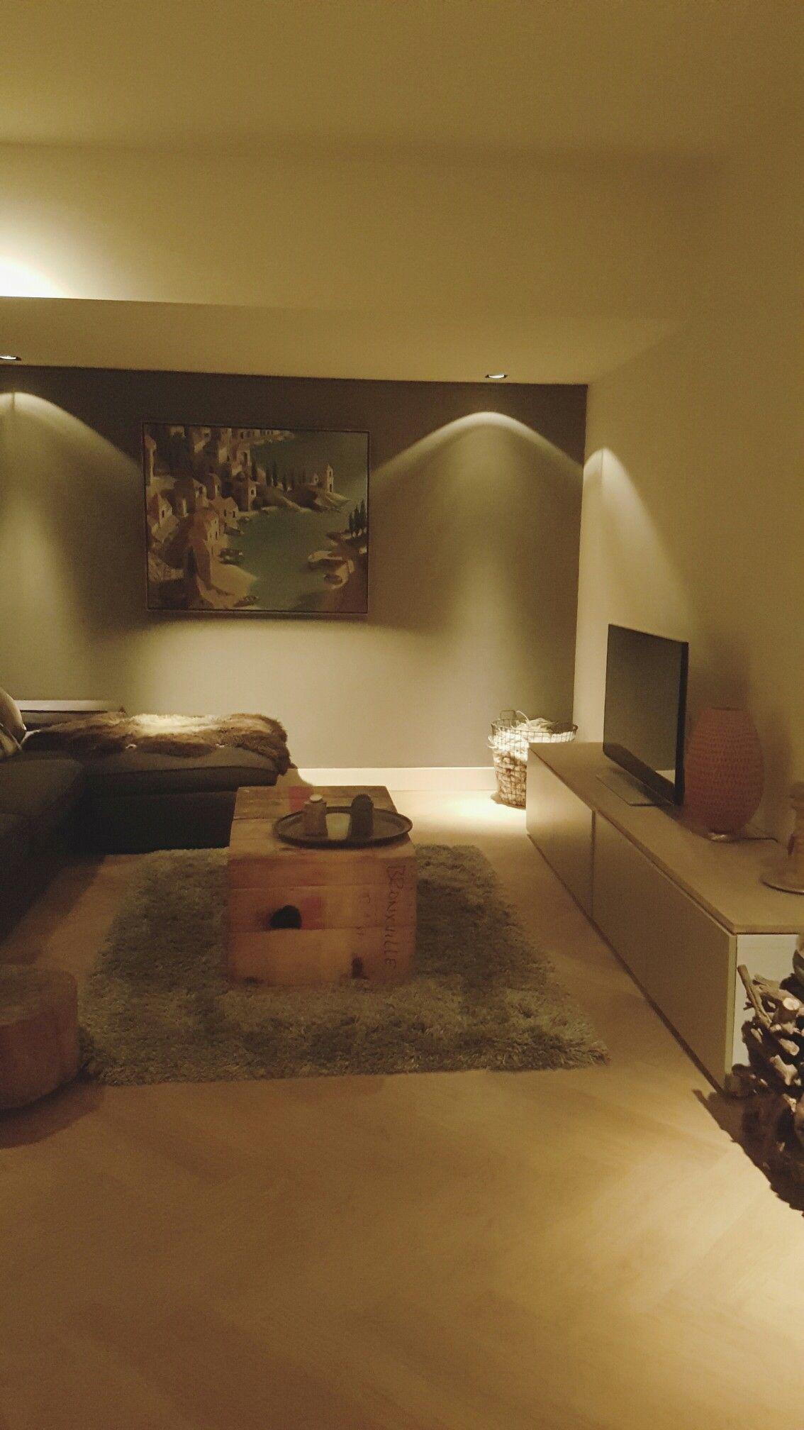 woonkamer tv kamer met inbouwspots | Recente projecten interieur ...