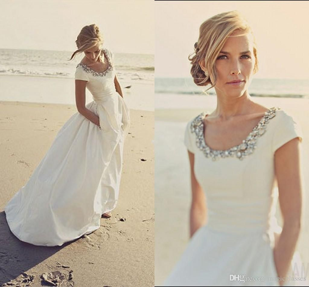 modern wedding dresses with pockets and short sleeves scoop