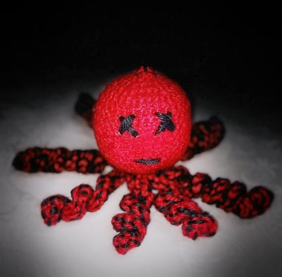 "Handmade Large Crochet Octopus Plush, Red and Black, 8"" long, Sewn Eyes and Mouth. Emo Goth OOAK"