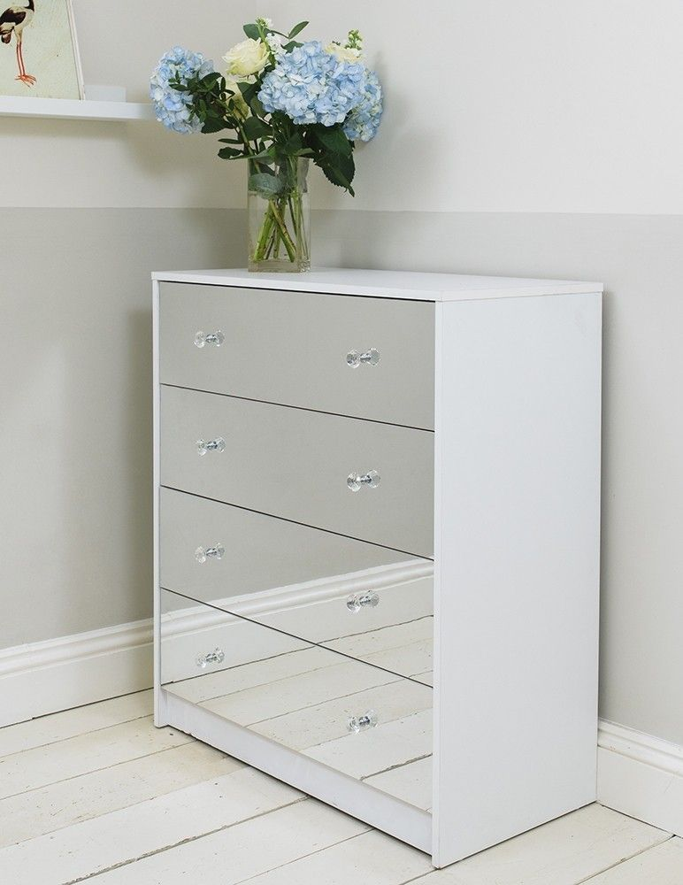 Distinctive In Design This Range Of Mirrored Furniture With A Matte White Frame Is Clean Chest Of Drawers Makeover Mirrored Bedroom Furniture Chest Of Drawers