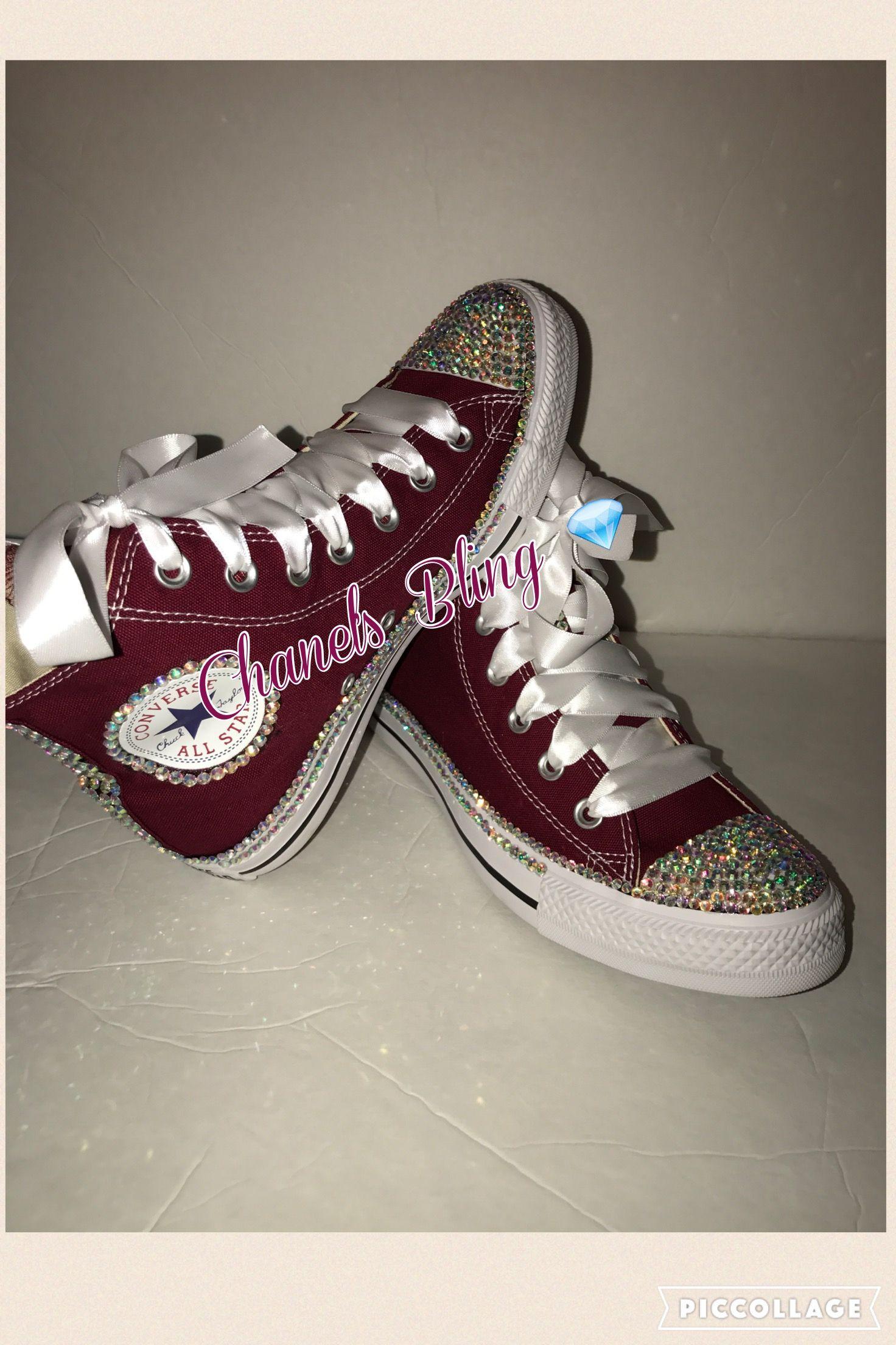 79752c12946c9 Women's Maroon Bling Rhinestone Converse All Star Chuck Taylor ...