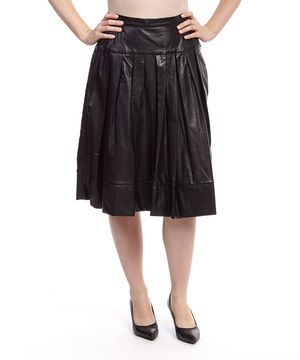 Black Drop Pleated Faux Leather Skirt by Mossaic #zulily #zulilyfinds