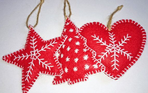 Set of 3 Felt Christmas decorations / ornaments, Star, Christmas