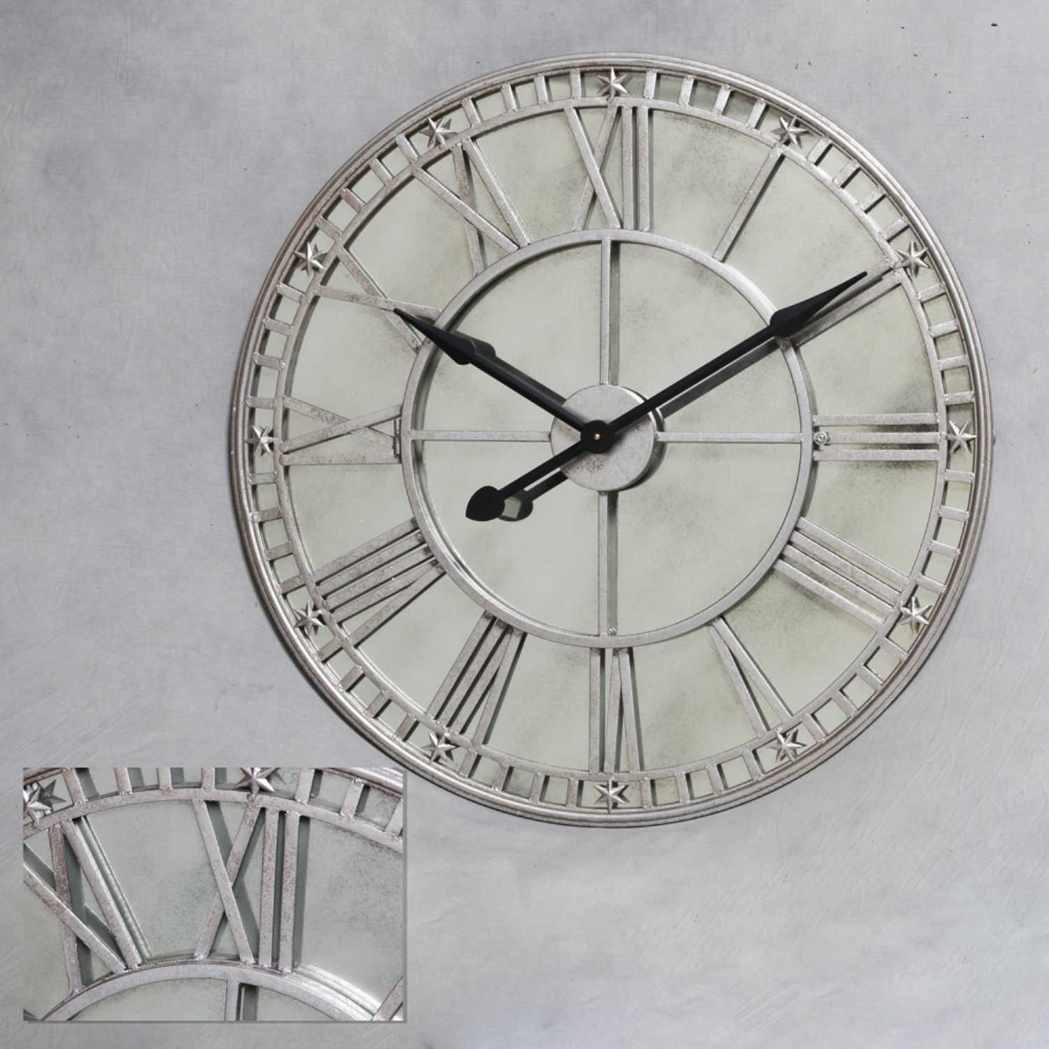 Large Round Metal Silver Wall Clock With Antiqued Mirrored Glass