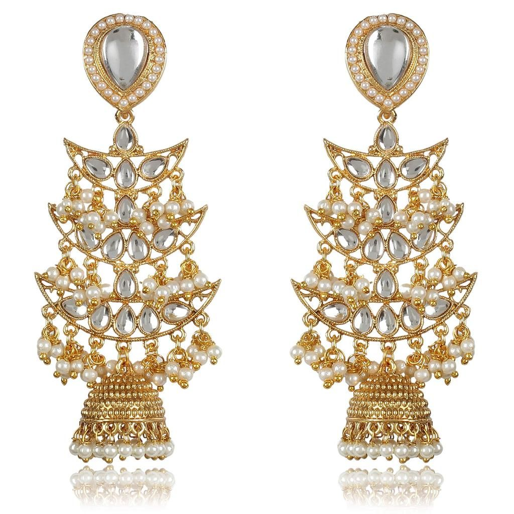 Bijouterie Creation Bollywood Traditional Ethnic Gold Plated Long Chandelier Jhumka Jhumki Indian Earrings for Women and Girls