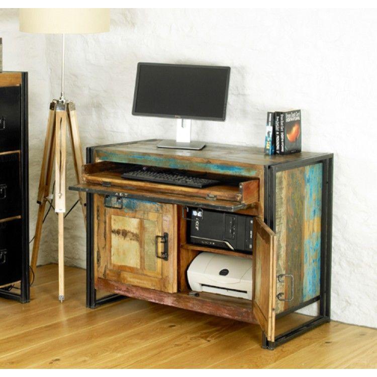 Urban Chic Furniture Hidden Computer Desk industrial homeoffice
