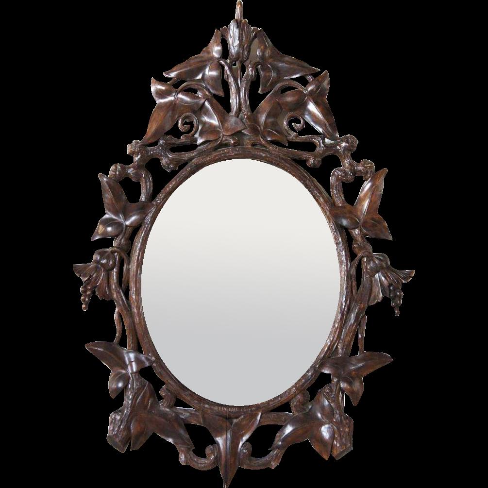 German Black Forest Walnut Oval Mirror Frame | Black forest and ...