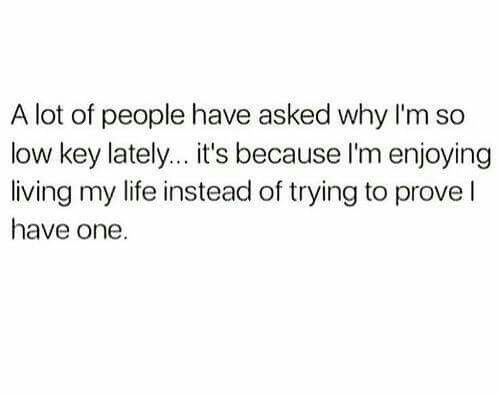 i am enjoying life rather than proving to you that i have ...