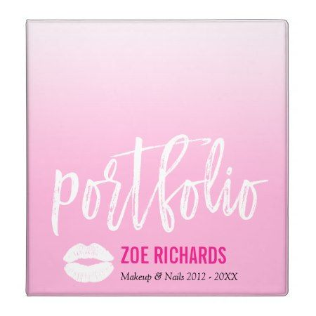 pink ombre  white kiss  makeup artist portfolio 3 ring