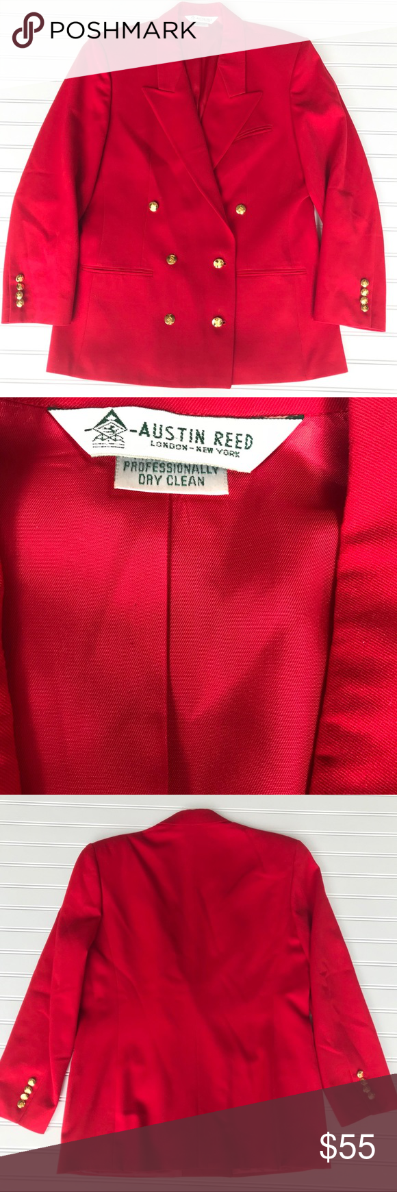 Stunning Austin Reed Red Blazer Gold Buttons 12 Red Blazer Dressy Jeans Work Wear