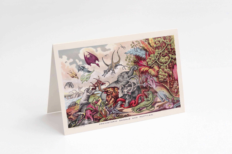 Prehistoric Animals & Reptiles 5x7 A7 Note Card | Blank Card Victorian Dinosaurs Wooly Mammoth Pterodactyl Mastadon Prehistoric