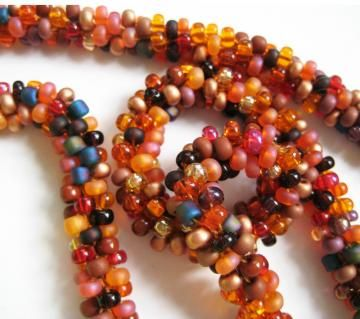 pumpkin crocheted bead necklace by sparganium for $49.00
