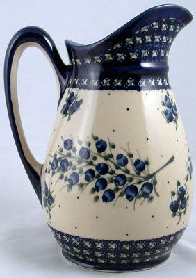 Water Pitcher Blueberry Design Polish Pottery Pottery