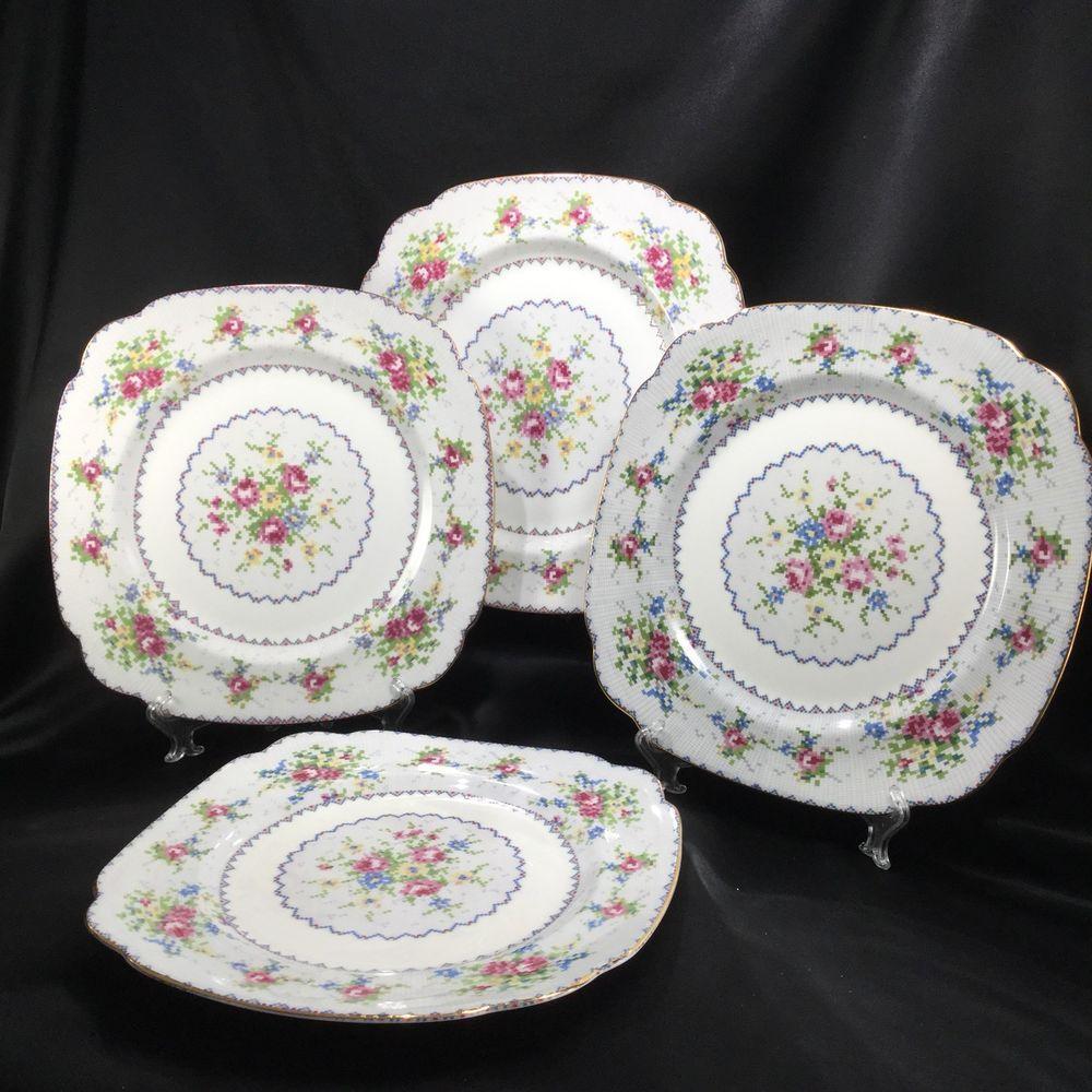 Vintage Royal Albert Petit Point 4 Piece Place Setting English Bone China Dinnerware