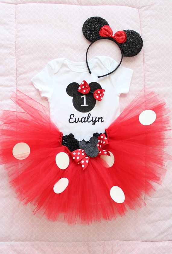 207c4838ac Beautiful Minnie Mouse Tutu Skirt, Headband, and Personalized Birthday  Onesie for Baby Girl 12 Month
