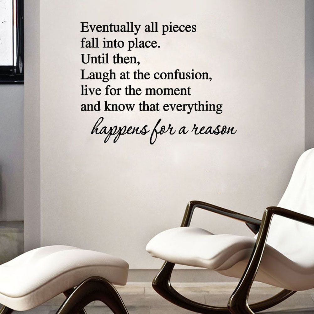 Removable Vinyl Accent Wall Tape: Eventually All Pieces Fall Into Place Wall Sticker Text