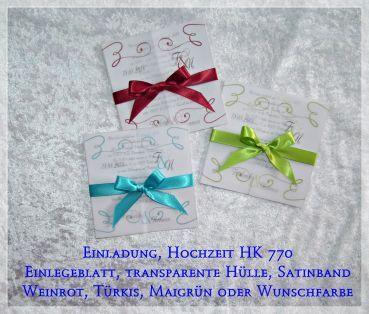 CreativDS   Einladung Danksagung... Hochzeit, Transparentpapier, HK 770