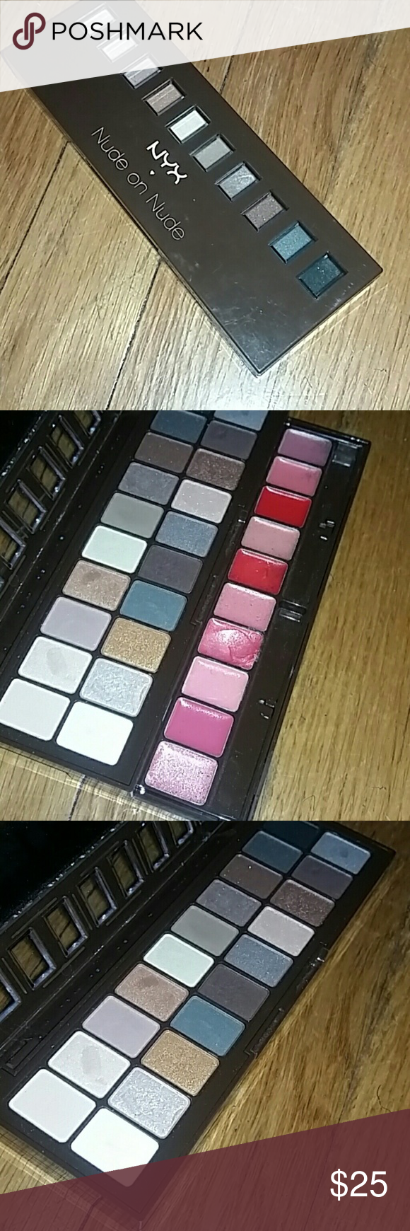 NYX Nude on Nude Eyeshadow & Lip Palette Realatively New. Used once. Had been disinfected. This palette is a more affordable version of the Naked Palette. The shadows are very pigmented and can create looks similar or the same of the Naked Palette. No Trades! Price Firm! 100% Authentic! NYX Makeup Eyeshadow