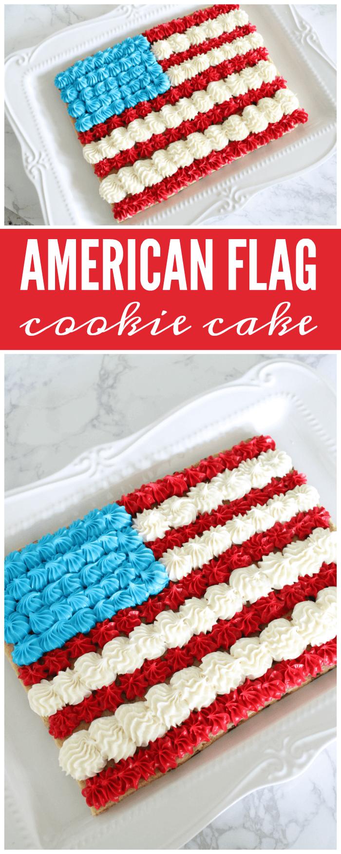American Flag Cookie Cake Patriotic Desserts American Flag Cake American Flag Cookies