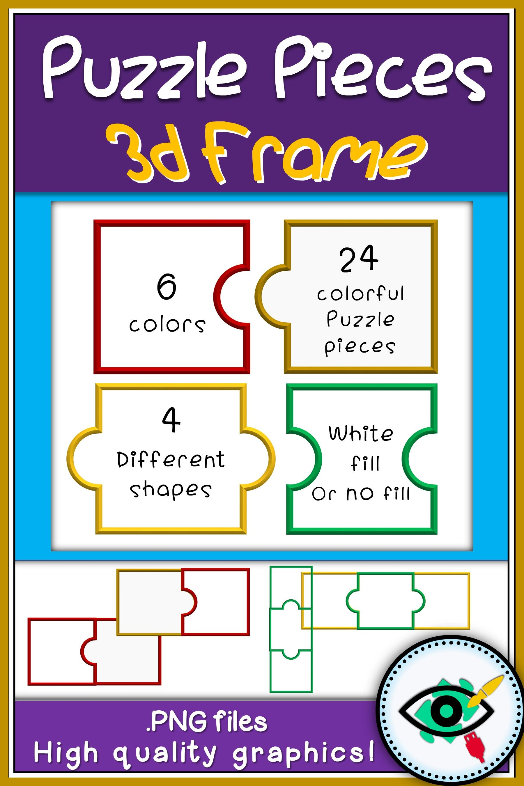 Puzzle pieces 3d frames clipart | Best of Planerium | Pinterest | 3d ...
