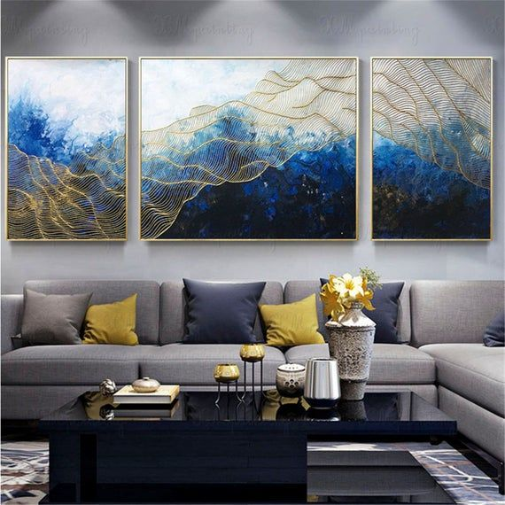 3 Pieces Framed Abstract Painting Wall Art Picture For Living Room Wall Decoro Handmade Canvas Acrylic Navy Blue Original Gold Lines Artwork Living Room Pictures Living Room Art Wall Decor Living Room