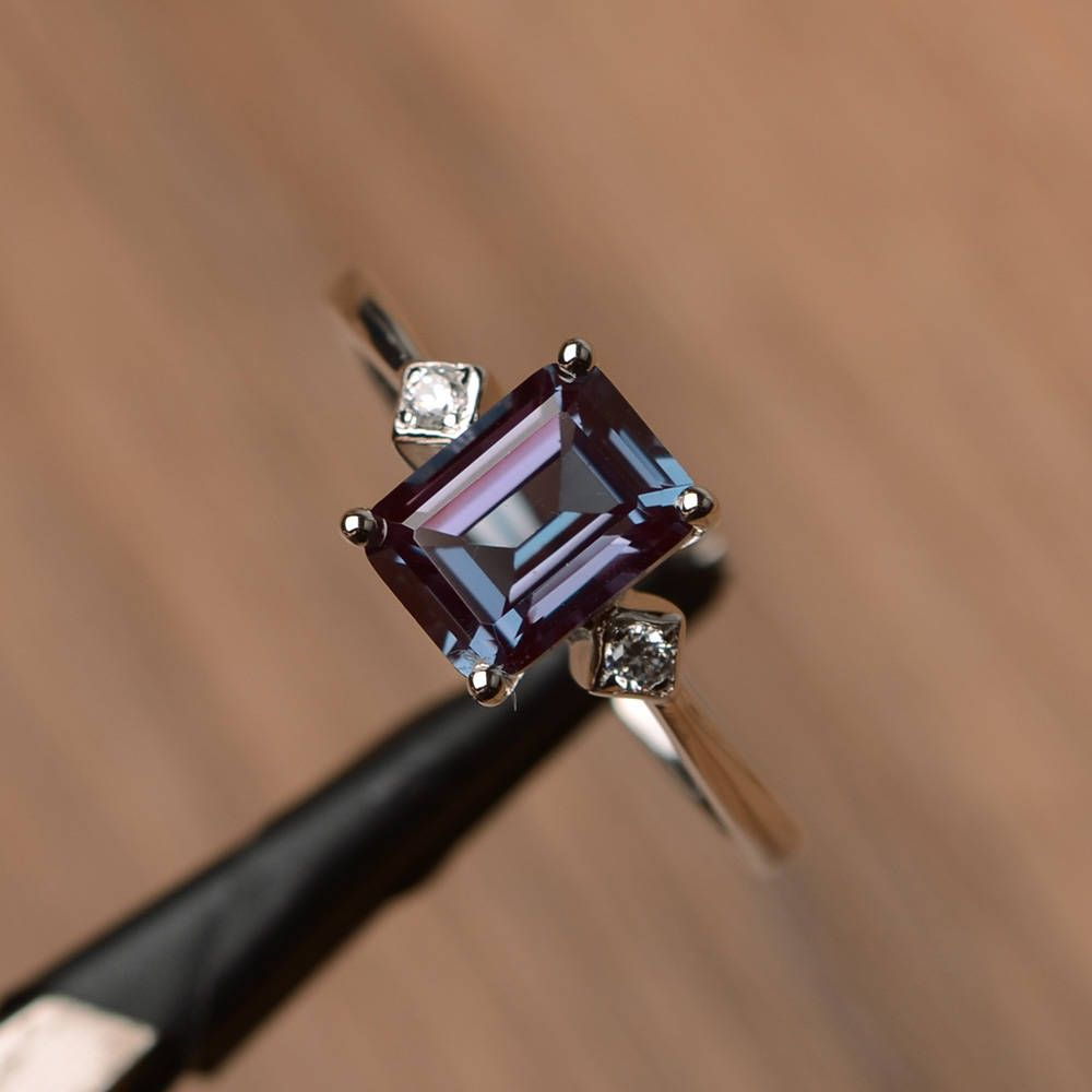 alexandrite ring engagement ring emerald cut gems color changing gemstone sterling silver ring June