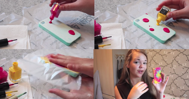 Or just use nail varnish and make this trippy tie 'n' dye pattern. | 17 Cheap And Easy DIY Phone Cases You Can Make At Home Right Now