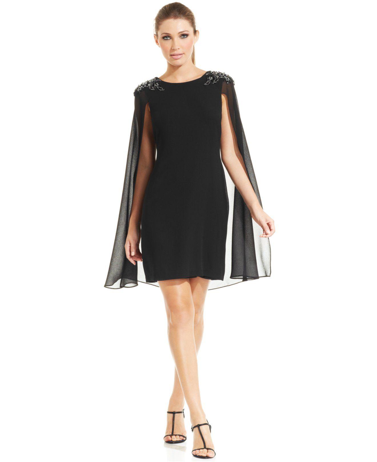 Xscape Embellished Chiffon Capelet Dress - Dresses - Women - Macy\'s ...