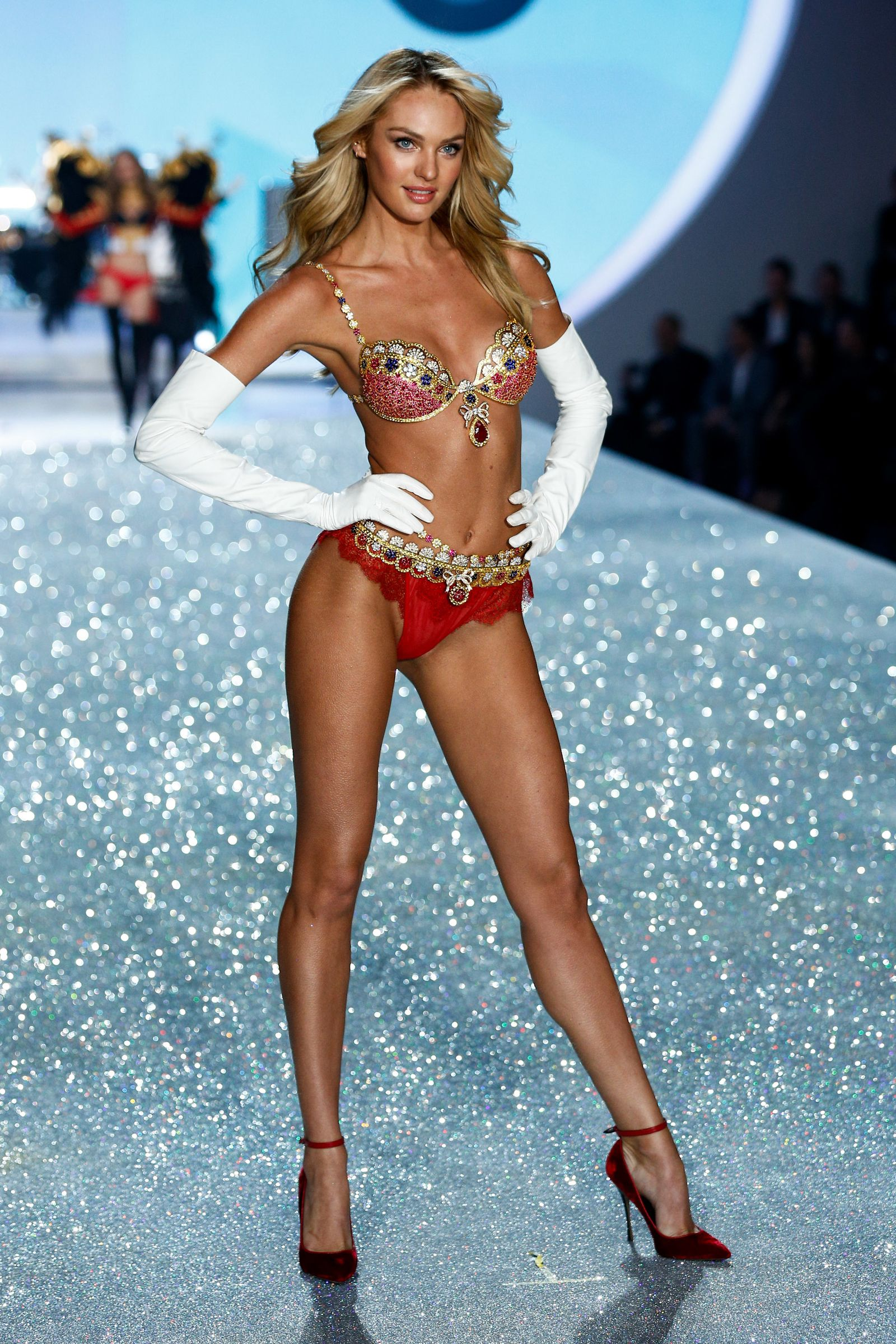 38d88d46557f The 10 Million Dollar Royal Fantasy Bra on Candice Swanepoel. Candice  Swanepoel walks the runway at the 2013 Victoria's Secret Fashion Show ...