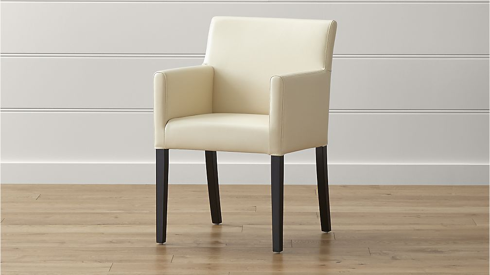 Crate & Barrel Lowe Ivory Leather Dining Arm Chair  Crates Magnificent Ivory Leather Dining Room Chairs Design Inspiration