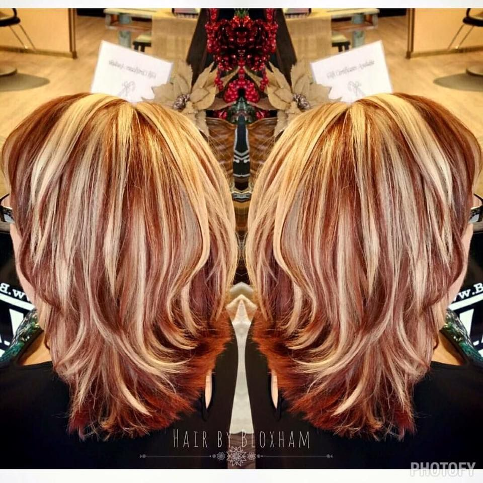 Red With Blonde Highlights Hair Pinterest Blondes