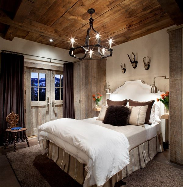 Country Bedroom Design Ideas with Wood ceiling and Vintage ...