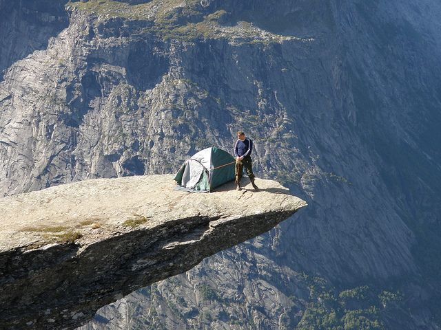 Endre Pedersen camping at Trolltunga. Many people stay overnight in tents  near Trolltunga - there