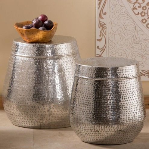 Dimpled Silver Drum Side Table Collection | VivaTerra